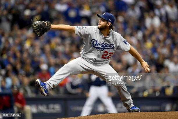 Clayton Kershaw of the Los Angeles Dodgers throws a pitch against the Milwaukee Brewers during the first inning in Game One of the National League...