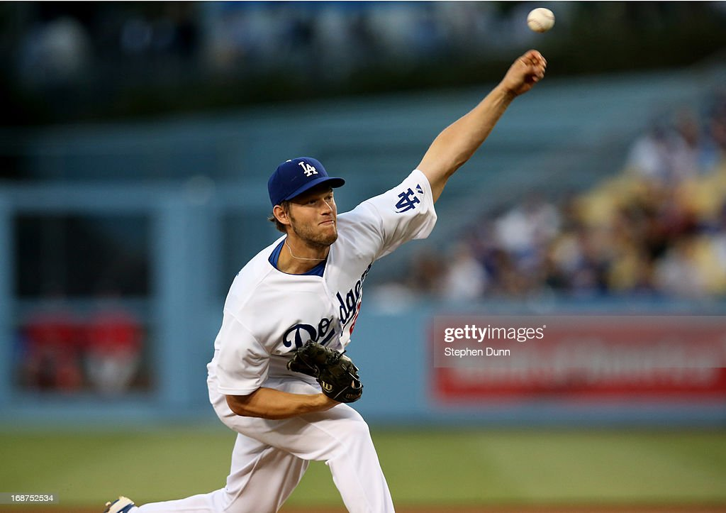 Clayton Kershaw #22 of the Los Angeles Dodgers throws a pitch against the Washington Nationals at Dodger Stadium on May 14, 2013 in Los Angeles, California.
