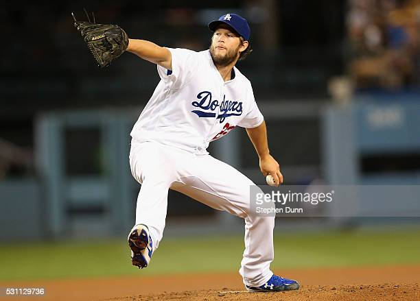 Clayton Kershaw of the Los Angeles Dodgers throws a pitch against the New York Mets at Dodger Stadium on May 12, 2016 in Los Angeles, California....