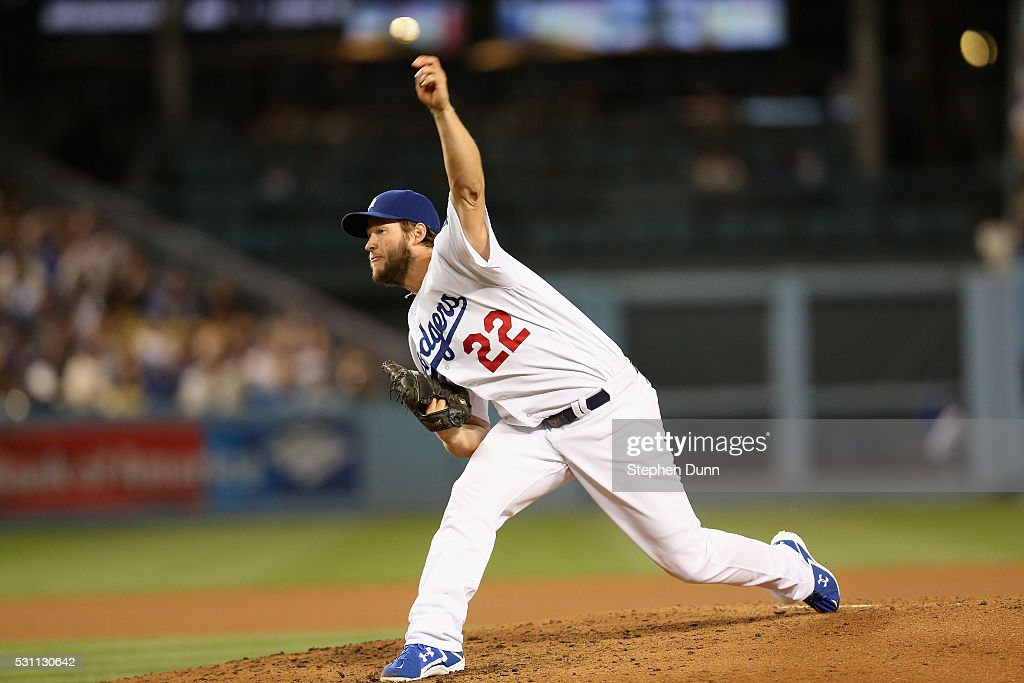 Clayton Kershaw #22 of the Los Angeles Dodgers throws a pitch against the New York Mets at Dodger Stadium on May 12, 2016 in Los Angeles, California. Kershaw threw a complete game shutout with 13 strikeouts as the Dodgers won 5-0.