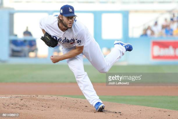 Clayton Kershaw of the Los Angeles Dodgers throws a pitch against the Chicago Cubs during the first inning in Game One of the National League...