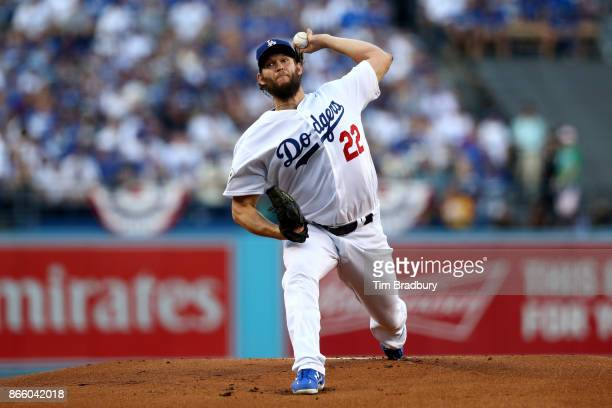 Clayton Kershaw of the Los Angeles Dodgers throws a pitch during the first inning against the Houston Astros in game one of the 2017 World Series at...