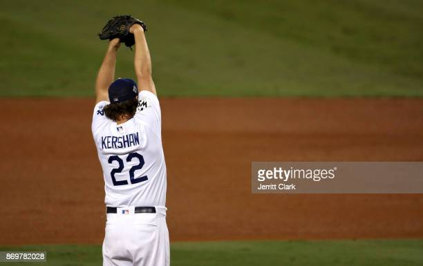 Clayton Kershaw of the Los Angeles Dodgers throws a pitch during the third inning against the Houston Astros in game seven of the 2017 World Series...