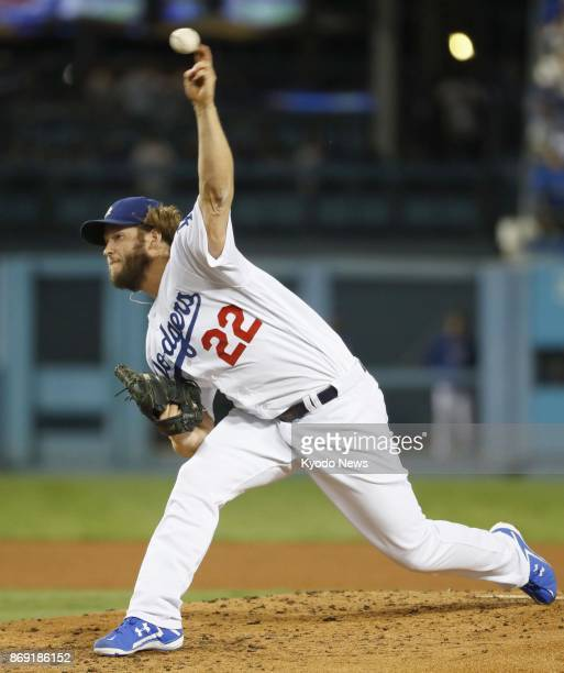 Clayton Kershaw of the Los Angeles Dodgers throws in relief against the Houston Astros in Game 7 of the World Series at Dodger Stadium on Nov 1 2017...