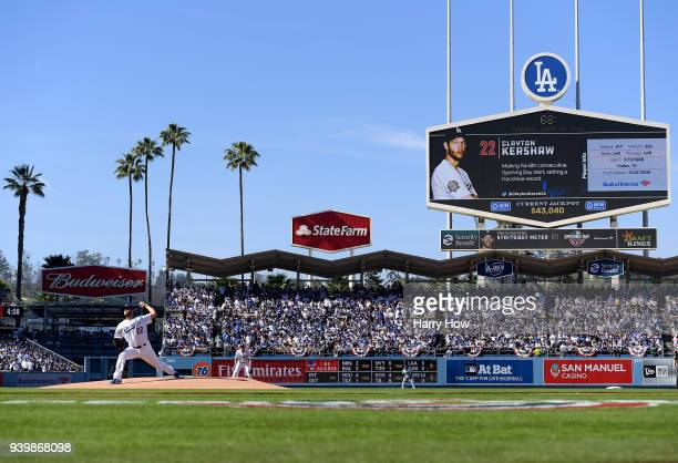 Clayton Kershaw of the Los Angeles Dodgers throws out the first pitch of the game against the San Francisco Giants during the 2018 Major League...