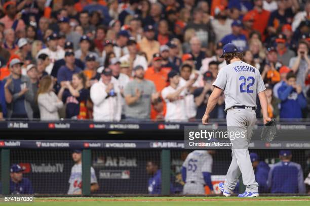 Clayton Kershaw of the Los Angeles Dodgers walks back to the dugout against the Houston Astros in game five of the 2017 World Series at Minute Maid...