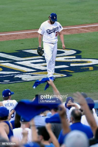 Clayton Kershaw of the Los Angeles Dodgers walks back to the dugout during Game 1 of the 2017 World Series against the Houston Astros at Dodger...