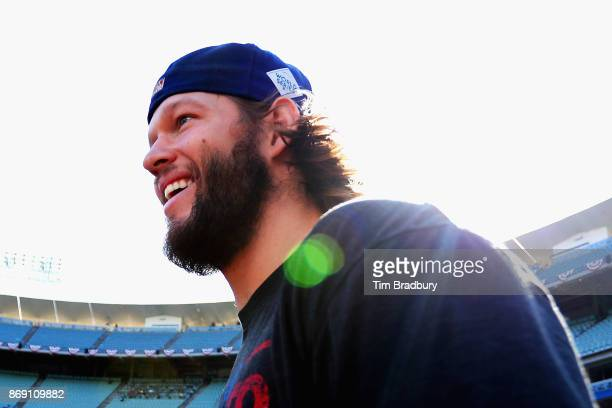 Clayton Kershaw of the Los Angeles Dodgers walks out of the dugout to warm up before game seven of the 2017 World Series against the Houston Astros...
