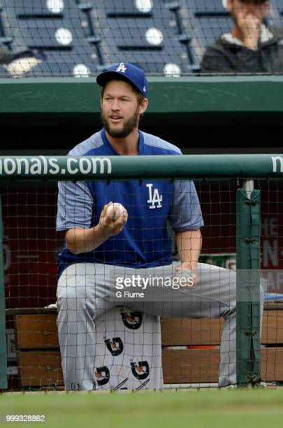Clayton Kershaw of the Los Angeles Dodgers watches the game against the Washington Nationals at Nationals Park on May 19 2018 in Washington DC
