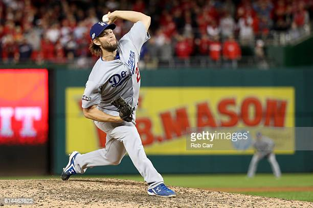 Clayton Kershaw of the Los Angeles Dodgers works against the Washington Nationals in the ninth inning during game five of the National League...
