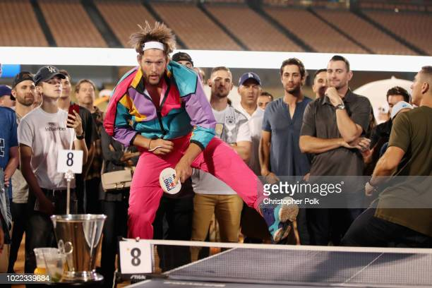 Clayton Kershaw plays ping pong at Clayton Kershaw's 6th Annual Ping Pong 4 Purpose on August 23, 2018 in Los Angeles, California.