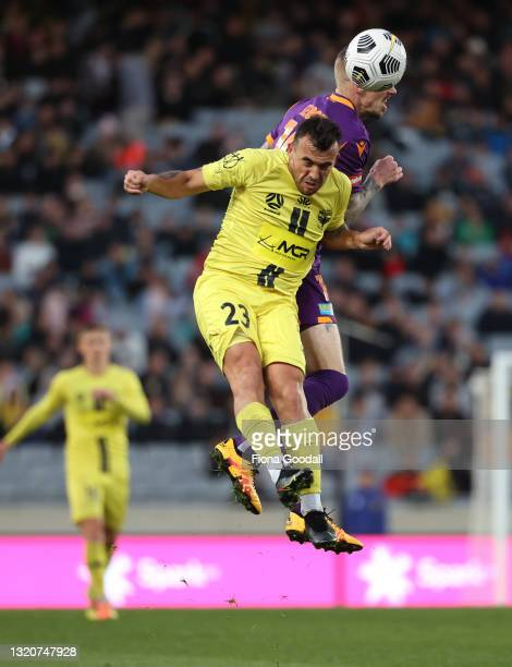 Clayton Lewis of the Wellington Phoenix heads the ball during the A-League match between the Wellington Phoenix and Perth Glory at Eden Park, on May...
