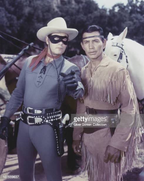 Clayton Moore as The Lone Ranger and Jay Silverheels as Tonto in TV's 'The Lone Ranger' circa 1950
