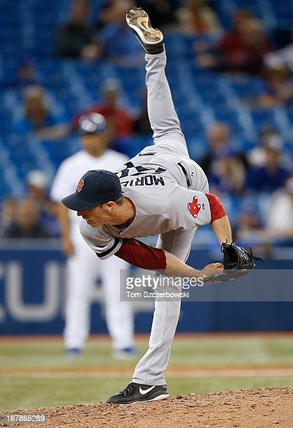 Clayton Mortensen of the Boston Red Sox delivers a pitch during MLB game action against the Toronto Blue Jays on April 30 2013 at Rogers Centre in...