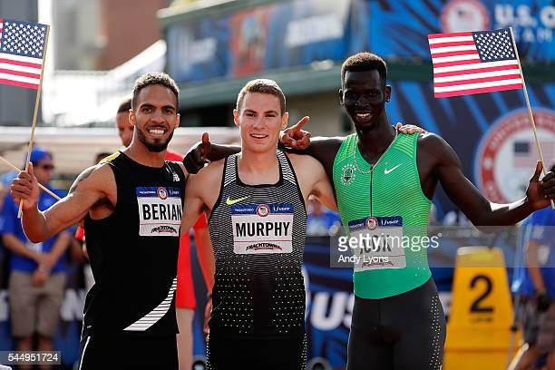Clayton Murphy, first place, Boris Berian, second place, and Charles Jock, third place, celebrate after the Men's 800 Meter Final during the 2016...