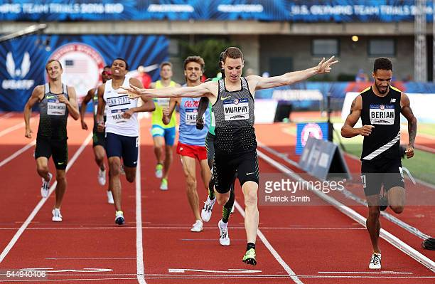 Clayton Murphy first place crosses the finishline ahead of Boris Berian second place to win the Men's 800 Meter Final during the 2016 US Olympic...