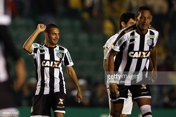 Clayton of Figueirense celebrates his goal, first goal of Figueirense during a match between Figueirense and Botafogo as part of Campeonato...