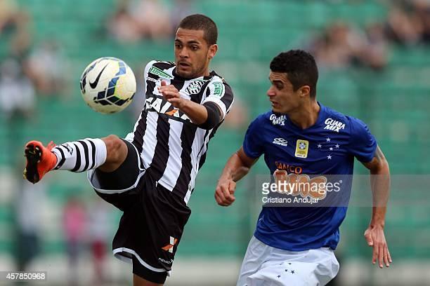 Clayton of Figueirense fight fot the ball with Egidio of Cruzeiro during a match between Figueirense and Cruzeiro as part of Campeonato Brasileiro...