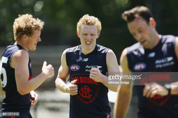 Clayton Oliver of the Demons looks fatigued while running during a Melbourne Demons AFL training session at Gosch's Paddock on December 13 2017 in...