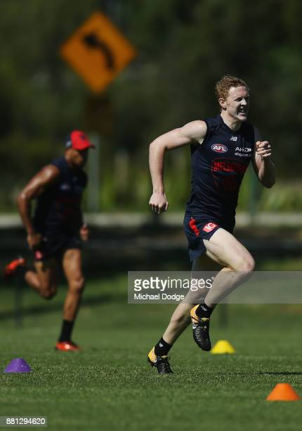Clayton Oliver of the Demons participates in sprint repeats during a Melbourne Demons AFL training session at Gosch's Paddock on November 29 2017 in...