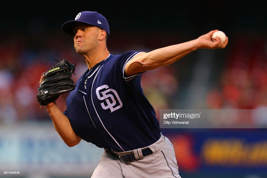 Clayton Richard #3 of the San Diego Padres delivers a pitch against the St. Louis Cardinals in the first inning at Busch Stadium on August 22, 2017 in St. Louis, Missouri.