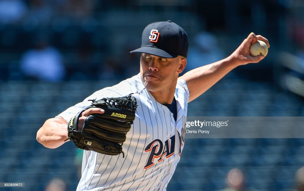 Clayton Richard #3 of the San Diego Padres pitches during the sixth inning of a baseball game against the Philadelphia Phillies at PETCO Park on August 16, 2017 in San Diego, California.