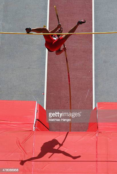 Clayton Sheldon of Malta competes during the Men's Pole Vault on day ten of the Baku 2015 European Games at the Olympic Stadium on June 22 2015 in...