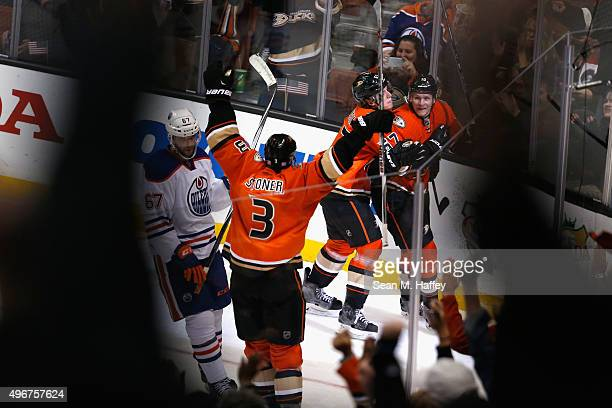 Clayton Stoner of the Anaheim Ducks Rickard Rakell of the Anaheim Ducks Corey Perry of the Anaheim Ducks react to a goal during the third period of a...