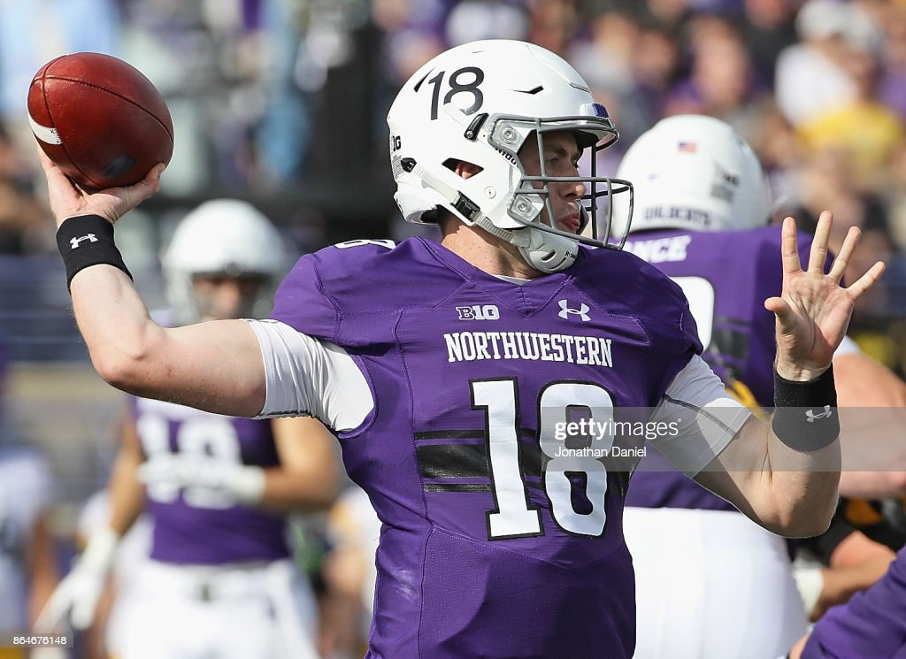 Clayton Thorson #18 of the Northwestern Wildcats passes against the Iowa Hawkeyes at Ryan Field on October 21, 2017 in Evanston, Illinois.