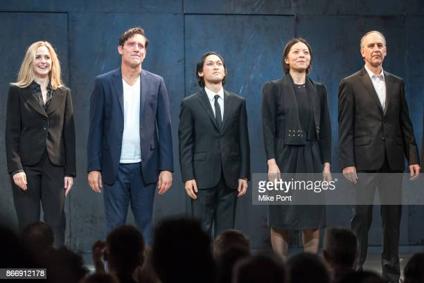 Clea Alsip Clive Owen Jin Ha Celeste Den and Michael Countryman are seen on stage during the opening night curtain call of 'the M Butterfly' on...