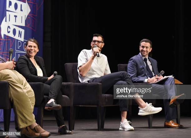 Clea Duvall Tim Simons and Ari Melber at the 'Meet Veep' panel during Politicon at Pasadena Convention Center on July 30 2017 in Pasadena California