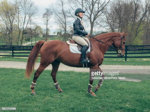 Clea Newman is photographed with her mare Tallita for Paris Match on April 24 2017 in Salem Connecticut