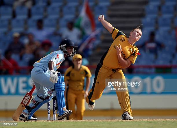 Clea Smith of Australia bowls during the ICC Womens World Cup Twenty20 semi final between Australia and India played at the Beausjour Cricket Ground...
