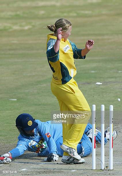 Clea Smith of Australia runs out Anjum Chopra of India during the IWCC Women's World Cup Final match between India and Australia at Supersport Park...