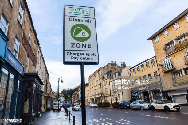 Clean Air Zone sign is seen beside the busy London Road, one of the main traffic arteries in the historic city of Bath on March 14, 2021 in Bath,...