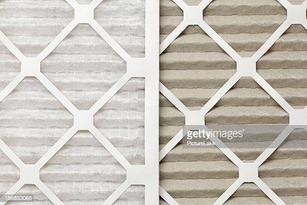 Clean and dirty air filters, side-by-side
