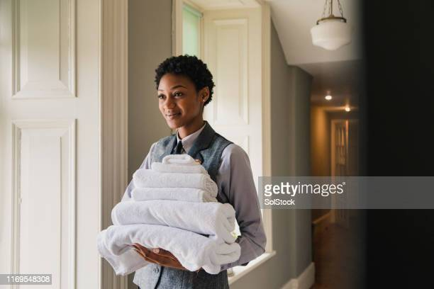clean and fresh cotton towels - housework stock pictures, royalty-free photos & images