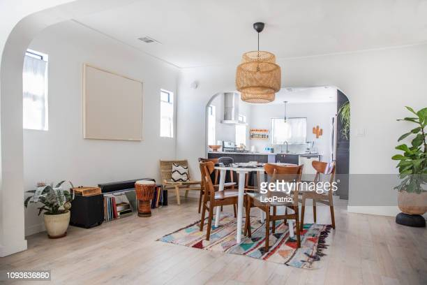 clean and modern style apartment - dining room stock pictures, royalty-free photos & images