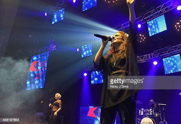 Clean Bandit and Jess Glynne perform at the KISS FM Haunted House Party at Eventim Apollo Hammersmith on October 31 2014 in London England