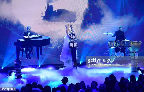 Clean Bandit performing at the Brit Awards 2018 Nominations event held at ITV Studios on Southbank London