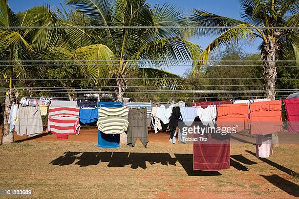 Clean clothes hanging on a washing line, Eighty Mile Beach, Western Australia, Australia