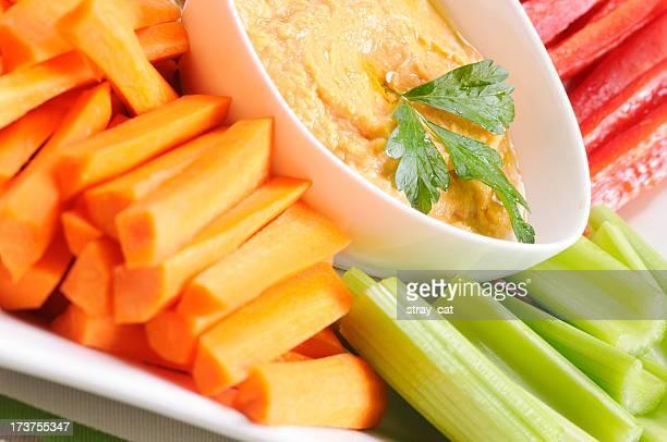 """Limpieza comer serie: Verduras frescas y pimienta roja """"Hummus"""""""