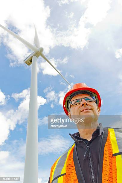 Clean Energy Worker and Wind Mill