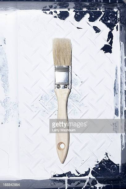 A clean house painting brush lying in a used paint tray with old paint on it