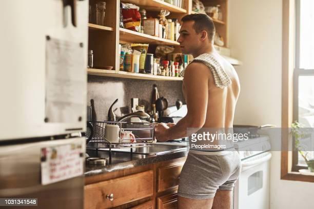 clean in the morning then chill the entire day - homem de cueca imagens e fotografias de stock
