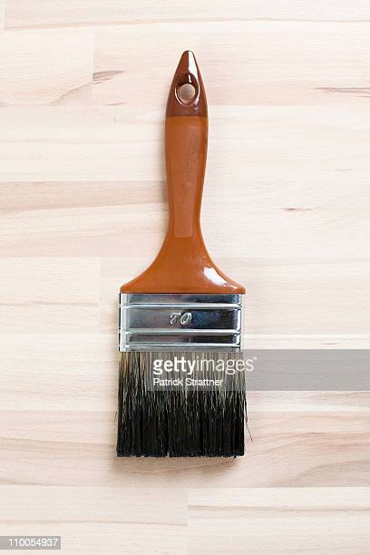 A clean paintbrush on unpainted wood