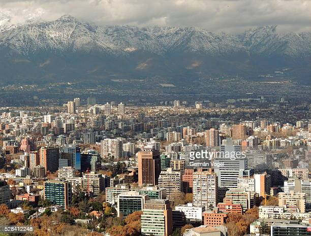 Clean sky Santiago de Chile skyline and snowed Andes mountains