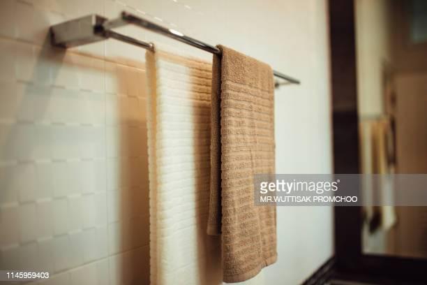 clean towel on a hanger prepared. - casal chuveiro imagens e fotografias de stock