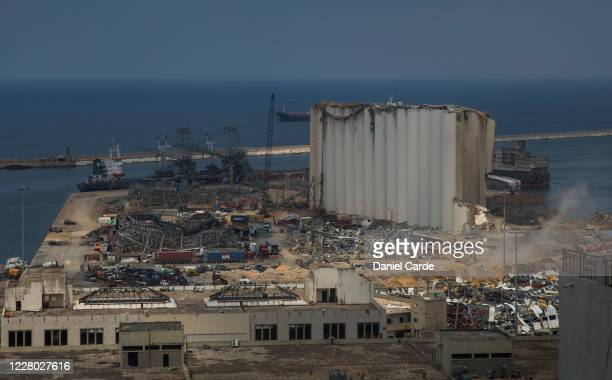 Clean up continues at the epicenter of last weeks explosion at the port on August 13, 2020 in Beirut, Lebanon. The explosion, which killed more than...