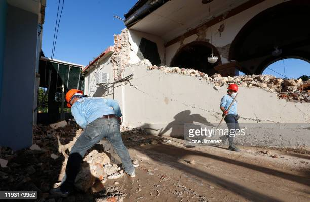Clean up efforts continue at the earthquake damaged Inmaculate Conception Church on January 11 2020 in Guayanilla Puerto Rico Saturday morning's...